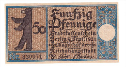 Deutschland Germany Allemagne Berlin Notgeld 50 Pfennige 1921 - [11] Local Banknote Issues