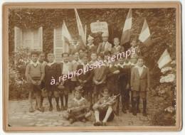 Photo Ancienne Cartonnée-très Beau Cliché-VIERZON-certificat D'étude- Honneur à L'école Des Ponts (Charot) - Lieux