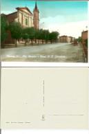 Renazzo (fraz. Di Cento - Prov. Ferrara): Via Renazzo E Chiesa Di S. Sebastiano. Cartolina B/n Acquerellato Anni '50. - Ferrara