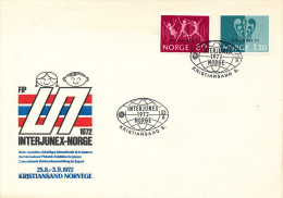 Norway FDC Interjunex-Norway 25-8-1972 Overprinted Stamps With Cachet - FDC