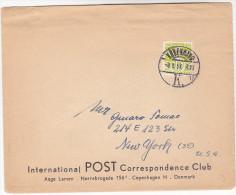 1953 DENMARK COVER International  POST CORRESPONDENCE CLUB To USA  Stamps - Denmark