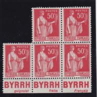 BLOC  DE 5  DU N° 283  TYPE IV  PUBLICITE BYRRH - ETAT NEUF- REF 17140 - Advertising