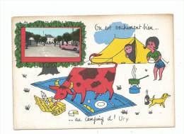 """URY: """" Je Vachement Bien Au Camping D' Ury, CPSM Humour Avec Une Mini Vue D' Ury , Non Voyagée, Ed Jp - Unclassified"""