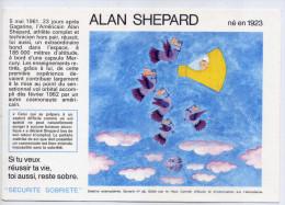 Buvard--Destins Exemplaires--ALAN SHEPARD (espace)-n°28 éd Haut Comité D´étude Et D´information Sur L´alcoolisme-Dessin - Löschblätter, Heftumschläge