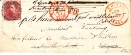 BELGIUM USED COVER 20/08/1851 COB 5 Margé BELLE NUANCE LOUVAIN VERS PARIS BELG/VALENCIENNES PAR MONTHEBIARD DOUBS - 1849-1850 Médaillons (3/5)