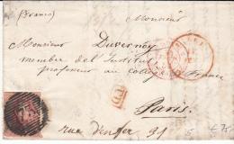 BELGIUM USED COVER ??/02/1850 COB 5 LIEGE VERS PARIS - 1849-1850 Médaillons (3/5)