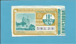 LOTARIA NACIONAL - 18.ª ORD. - 18.05.1978 - AÇORES ( PICO ) - IGREJA DA MADALENA - Portugal - 2 Scans E Description - Billets De Loterie