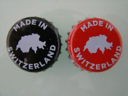 2 COCA COLA SUIZA SWITZERLAND unused soda beverage bottle crown caps 2013 tappi tapon corona chapas, Kronkorken