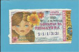 LOTARIA NACIONAL - 8.ª ORD. - 03.03.1983 - PRIMAVERA - Portugal - 2 Scans E Description - Billets De Loterie