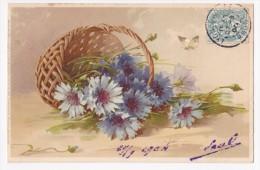Carte Illustrée C Klein - Panier De Bleuets Renversé, Papillon - Circulé 1904 - Klein, Catharina