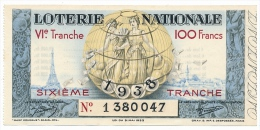 Billet Loterie Nationale - 100 F - 6eme Tranche - 1938 - 1380047 - Billets De Loterie