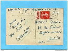 MARCOPHILIE-carte -FLORAC- Affranchie 20c Semeuse N°360-Publicité  BYRRH-Cad 1938 - Advertising