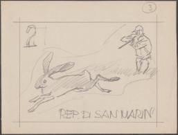 Saint Marin 1962 Y&T 562/71. Dessin Original De Corrado Mancioli, Pour La Série « Chasse Moderne ». Chasse Au Lapin - Lapins