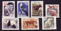 1964 russie neuf ** n� 2821/27 non dentel� : faune : �l�phant : ours : panda : tigre : p�lican : faucon : �lan