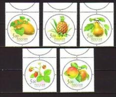 2003 russie neuf ** n� 6747/51 flore : fruit : ananas : poire : melon : fraise : pomme