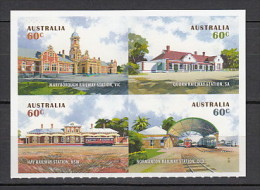 2013 australie neuf ** n�  3879/82  transport : train : gare : architecture : timbre adh�sif