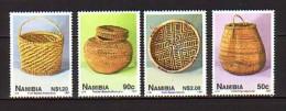 1997 namibie neuf ** n� 798/801 artisanat : vannerie : panier : corbeille