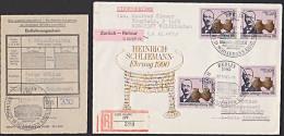 DDR 50 Pf(4) Heinrich Schleimann Auslands-R-Brief Mit SSt. Berlin Vom Ersttag, Letzttag Der DDR, Ankershagen Museum - DDR