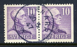 SWEDEN 1939  Gustav V 10 öre Type II Se-tenant Pair Used.  Michel 256 II B/Dr - Sweden