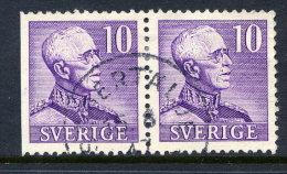 SWEDEN 1939  Gustav V 10 öre Type II Se-tenant Pair Used.  Michel 256 II Dl/B - Sweden