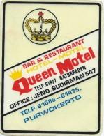 Etiquette Valise Et Malle/ Hotel/ ASIE/ Queen-Motel/Purwokerto/In Donésie/ Années 1980   EVM61 - Etiquettes D'hotels