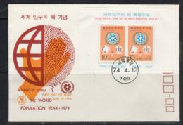 World Population SS On Scarce FDC 1974 (k53) - Corea Del Sud