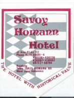 Etiquette Valise Et Malle/ Hotel/ ASIE/ Savoy Homann Hotel / West JAVA/ Indonésie/Années 1980 EVM65 - Hotel Labels