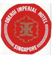 Etiquette Valise Et Malle/ Hotel/ ASIE/ Oberoi Imperial  Hotel / Singapore/Années 1980 EVM66 - Hotel Labels