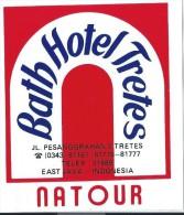 Etiquette Valise Et Malle/ Hotel/ ASIE/ Bath Hotel Tretes/ East JAVA/ Indonesia//Années 1980 EVM67 - Hotel Labels