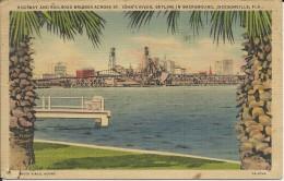ETATS UNIS . FLORIDE . JACKSONVILLE . HIGHWAY AND RAILROAD BRIDGES ACROSS ST JOHN'S RIVER . SKYLINE IN BACKGROUND - Jacksonville