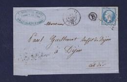 FRANCE. TIMBRE. LETTRE. NAPOLEON. N° 14.....GUILLEMOT. DIJON. 21. COTE D OR.NARJOUX. NINOT. - 1853-1860 Napoléon III