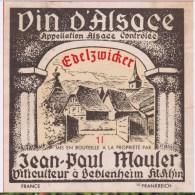 Etiquette VIN - ALSACE  EDELZWICKER - J. P. Mauler - Illustrée Par P. Blasy - White Wines