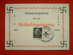"""Farbige Propagandakarte """"Reichskriegertagung In Kassel 1939"""" Von Deutsches Reich, Ungebraucht - Allemagne"""