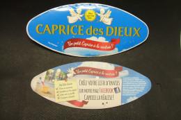 Etiquette Couvercle Fromage CAPRICE DES DIEUX Un Petit Caprice à La Rentrée ? 200g + Contre-étiquette - Fromage
