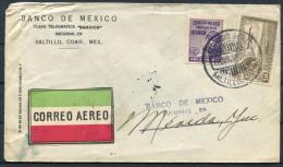 1930 Banco De Mexico Airmail Saltillo Monterrey Merida Cover - Mexico