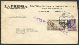 1930 Banco De Mexico Airmail La Prensa Cover - Merida - Mexico
