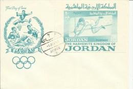 JORDAN  Olympic Games 1964  TOKYO   Imp Sheet On FDC   Cat SG MS579  50,00 GBP - Verano 1964: Tokio