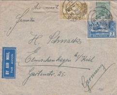 FP-Brief RANGOON 1934 - 3 Fach Frankierung Auf LP-Brief Gel.1934 V. RANGOON > Kiel - Myanmar (Burma 1948-...)