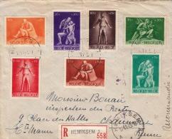 R-Brief BELGIEN 1945 - 10 Fach Frankiert, (R-Hemiksem1,558) Gel.v.Belgien > France - Belgien