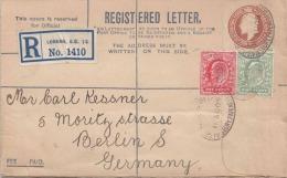 R-Brief ENGLAND 1909 - 2 Penny+1 Penny Ganzsache + 2 Fach Zusatzfrankierung Auf R-Brief Von London > Berlin