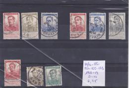 LOT DE TIMBRES DE BELGIQUE OBLITEREES EN L ETAT Nr 111/12-115-120-125-123   1912-13 COTE 6.25 € - Belgique