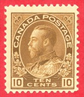 Canada #  118- 10 Cents  - Mint N/H - Dated  1911-25- George V Admiral Issue /  George V Émission Des Admiraux - 1911-1935 Règne De George V