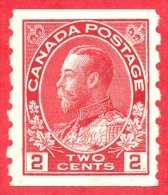 Canada #  127 - 2 Cents  - Mint - Dated  1912-24 - George V Admiral Coil /  George V Admiraux 'Bobine' - 1911-1935 Règne De George V