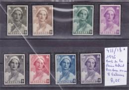 LOT DE TIMBRES DE BELGIQUE NEUF/* EN L ETAT Nr 411/18* 1935 MORT DE LA  REINE ASTRID BORDURE NOIR COTE 8.25€ - Neufs