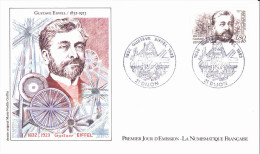 DIJON (21)  Gustave EIFFEL, Ingénieur, (Tour Eiffel, Viaduc De Garabit), Dessin DeMarie-Noëlle Goffin, FDC, 18/12/1982 - 1980-1989