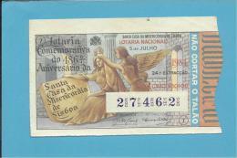 LOTARIA NACIONAL - 24.ª ORD. - 05.07.1984 - SANTA CASA DA MISERICÓRDIA - Portugal - 2 Scans E Description - Lottery Tickets