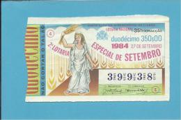 LOTARIA NACIONAL - 35.ª ORD. - 27.09.1984 - 2.ª ESPECIAL DE SETEMBRO - Portugal - 2 Scans E Description - Billets De Loterie