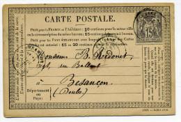 CARTE PRECURSEUR(CPO) : T18 FALAISE  / Dept 13 Calvados / 31 Octobre 1876 / TP SAGE - Marcophilie (Lettres)