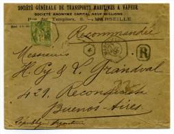 Marseille => BUENO AIRES/ ARGENTINA  YT N#82 Sage seul sur lettre ( lev�e exceptionnelle)  / 1903