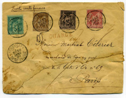 QUADRICOLOR  au type SAGE / Sur lettre CHARGE de VERSAILLES / Dept SEINE ET OISE / 30 Janv 1890